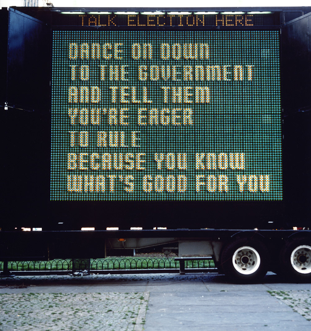 Sign On A Truck 1984 Text Survival 1983 85 Jenny Holzer ARS NY And DACS Artimage London 2017 Photo Ken Pelka Kevin Noble
